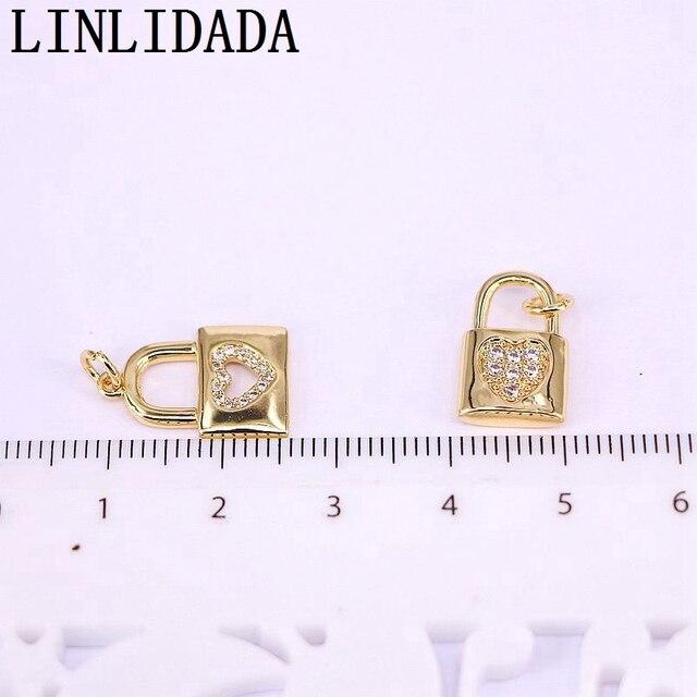 20 pièces en gros clair cz pendentif serrure forme cubique breloque en zircon, bijoux bracelet/collier accessoires