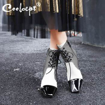 Coolcept Genuine Leather Women Short Boots Winter Lacing Ankle Boots For Women Shoes Mixed Color Ladies Footwear Size 34-39