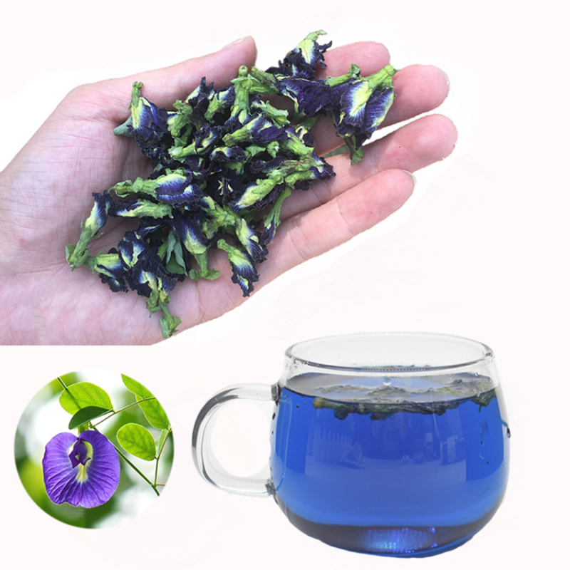 50g 100g Blue Tea Clitoria Ternatea Thailand Blue Butterfly Pea Tea Pure Natural Dried Pea Flower Tea Simulation Kitchen Toy