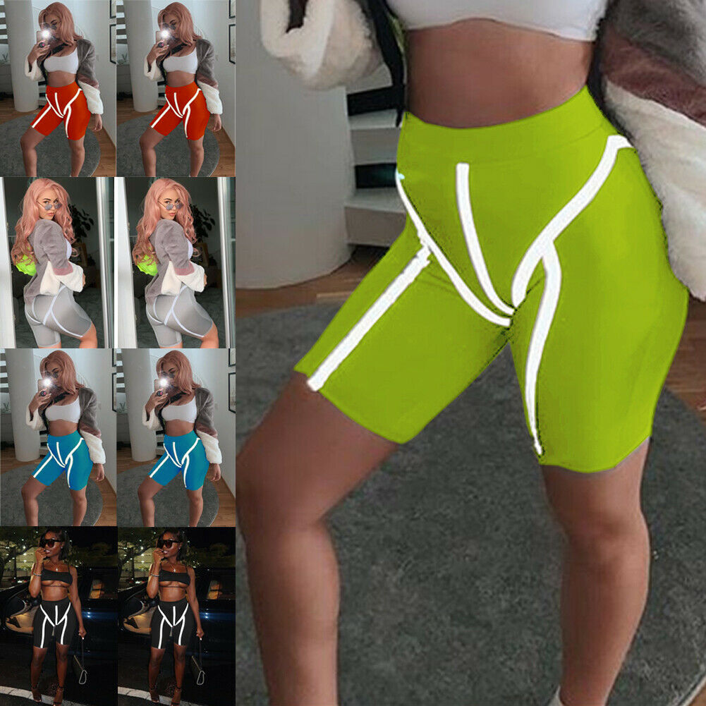 Hirigin Women Reflective Stripe Sim Tight Shorts Gym Cycling Biker Sport Running Tight Shorts