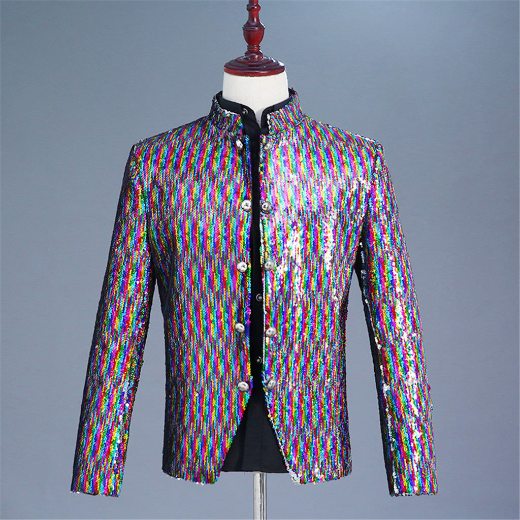 Men's Fashion Sequin Costumes Suit Jacket Stand Collar Nightclub Costumes Tops Blazers Single Button For Men Stylish Suit 9.21