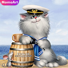 MomoArt Diamond Embroidery Full Drill Square Painting Cat Rhinestones Pictures Mosaic Animals Home Decoration