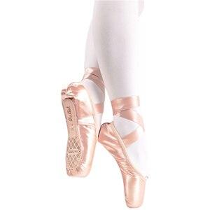 Image 3 - Neue Satin Ballett Tanz Pointe Toe Schuhe Pointe Silk Band Schuhe Toe Pad Mädchen Rosa Professionelle Ballett Schuhe Für Ballett