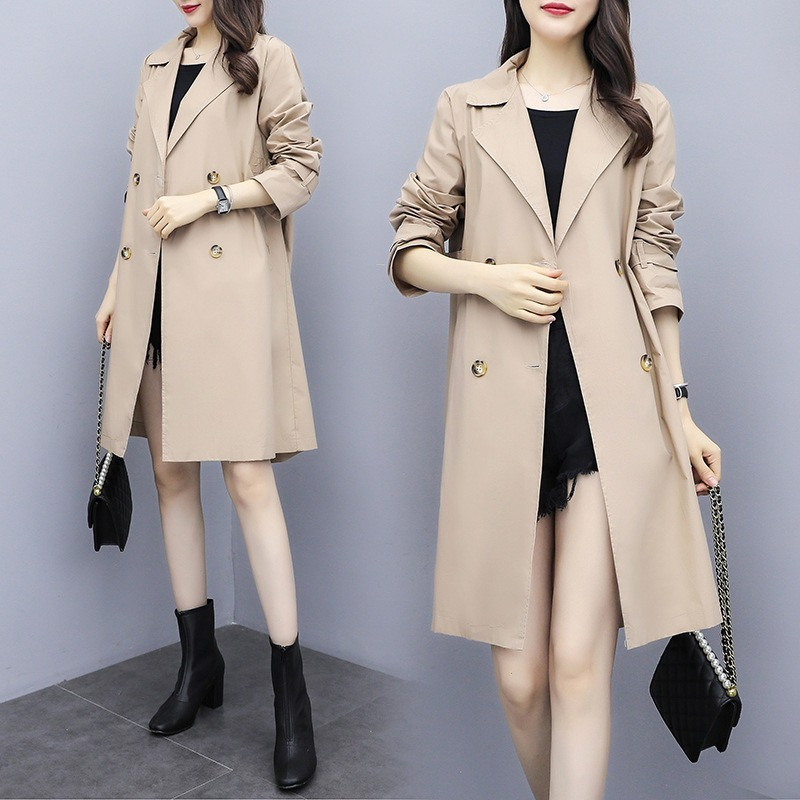Women   Trench   Coat 2019 Spring Autumn New Fashion Female Loose Long Thin   Trench   Office Lady Wind breaker Business Outerwear -85