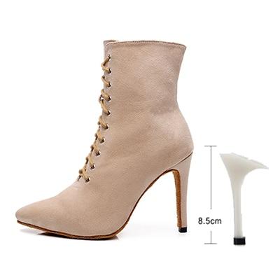 Woman Closed Toe Latin Dance Shoes Black Beige Lace Up Ballroom Dance Sandals For Women Soft Bottom Bachata Dance Boots