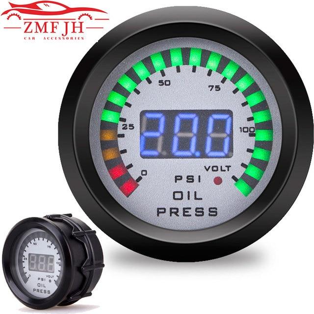 "Car 2"" 52mm Oil pressure gauge With Sensor Smoke Lens Oil Press Gauge + voltmeter auto Car meter 12v digital motorcycle"