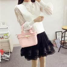 2019 Lace Pullover Sweater Jumper Winter Lantern Sleeve Knitted Sweaters and Pullovers Women Pull Femme Free Necklace LJ854(China)