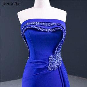 Image 5 - Royal Blue Srtapless Sexy A Line Evening Dresses 2020 High end Satin Beading Sleeveless Formal Dress Serene Hill HM67087