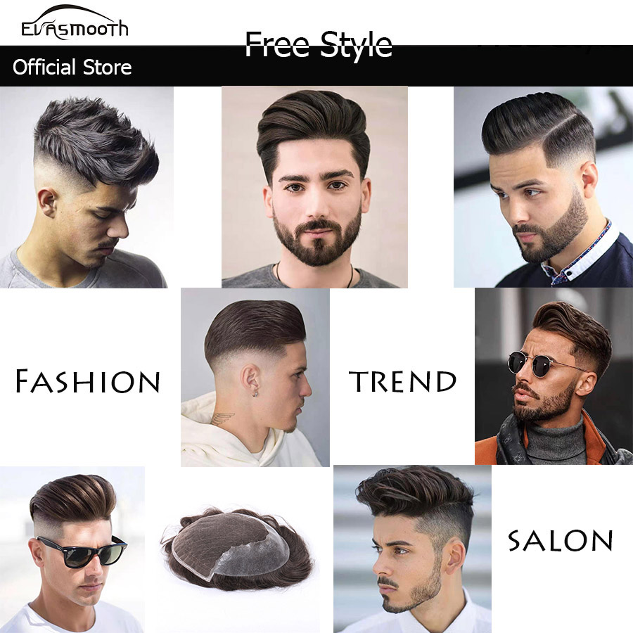 Men Toupee Natural Hairline 100% Real Natural Indian Remy Human Hair Men Wig Swiss Lace Thin PU Toupee Hair Replacement System