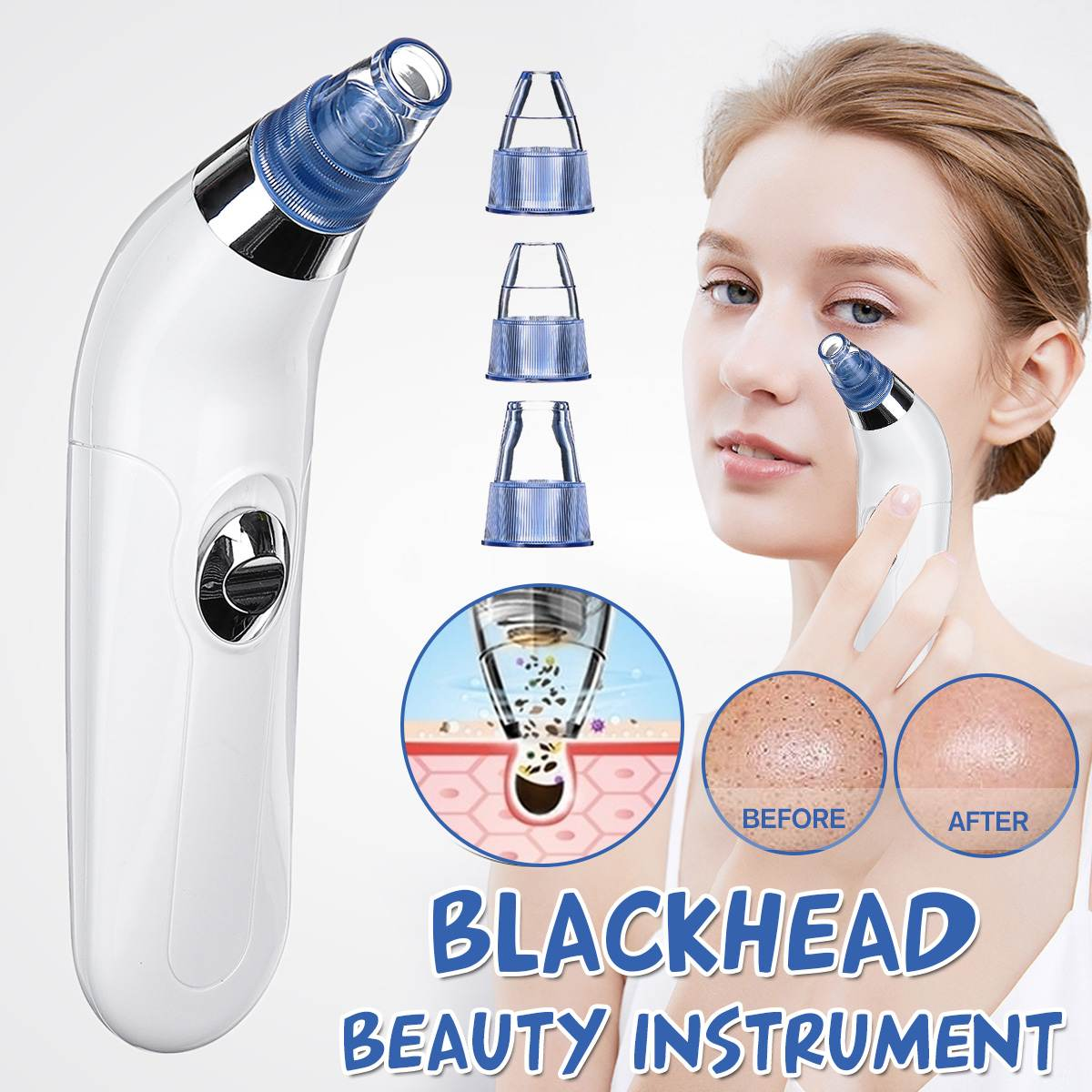 4 Suction Heads Blackhead Remover Vacuum Pore Cleaner Acne Blackhead Facial Removal Suction Machine Skin Care Tool Face Cleaning