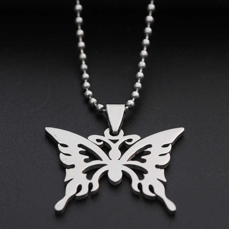 Stainless Steel Hollow Butterfly Necklace Silver Link Chain Trendy Pendant For Women Men Best Quality Cool Punk Party Jewelry