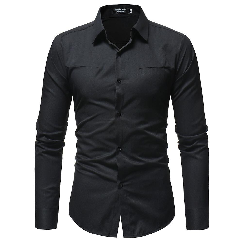 2018 Men Water Waves Pattern Shirt Dark Stripes Shirt Men Casual Long-sleeved Shirt 3343