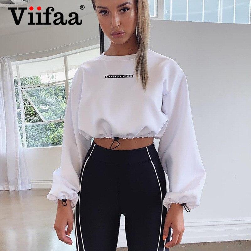 Viifaa White Drawstring Hem Casual Streetwear Crop Sweatshirt Women Pullover Letter Print Sporting Autumn Oversized Sweatshirts