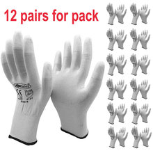 NMSAFETY 24Pcs/12Pairs Anti Static ESD Safety Glove with Knitted Nylon Dipping PU Finger Universal Glove