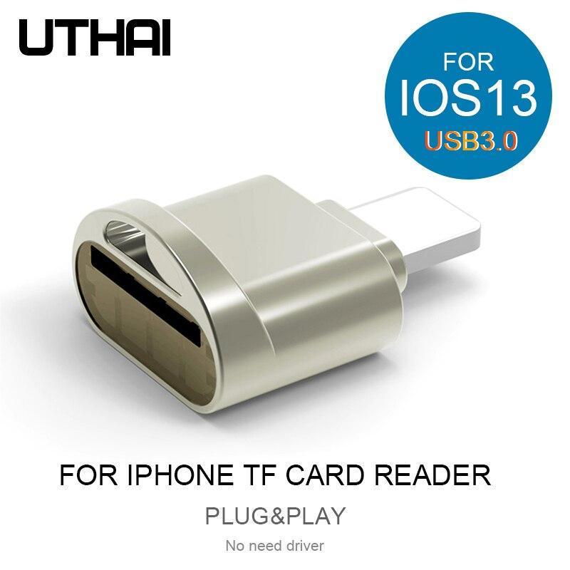 Uthai c60 para iphone leitor de cartão tf usb3.0 plug & play relâmpago para microsd adaptador não há necessidade de driver para iphone 7 8x11 ios13