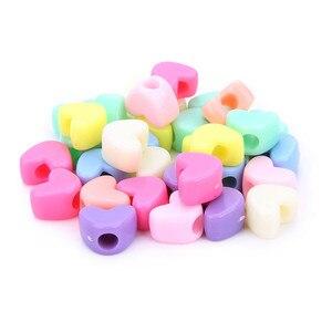 100 pçs/lote Cores Misturadas Amor Do Coração de Acrílico Spacer Beads 12x9mm Plástico Pastel Resina Bead Charme para DIY Jóias Fazer