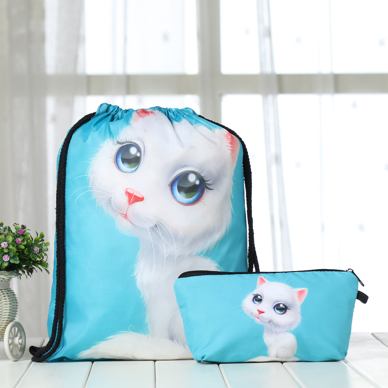 Drawstring Suit Backpack Drawstring Bags Fashion Men Casual Bags Unisex Women's Shoulder 3D Clutch Bag Polyester Animal Cat New