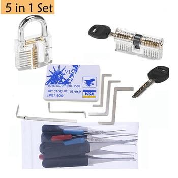 Locksmith Tool Lockpick Set Broken Key Extractor With Transparent Locks For Pro Locksmith Training And Practicing Skill