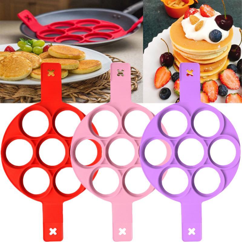 Силиконовые антипригарные приспособления для приготовления блинчиков, 7 отверстий, инструменты для приготовления блинчиков, яиц, блинчиков|Кольца для яиц и блинчиков|   | АлиЭкспресс