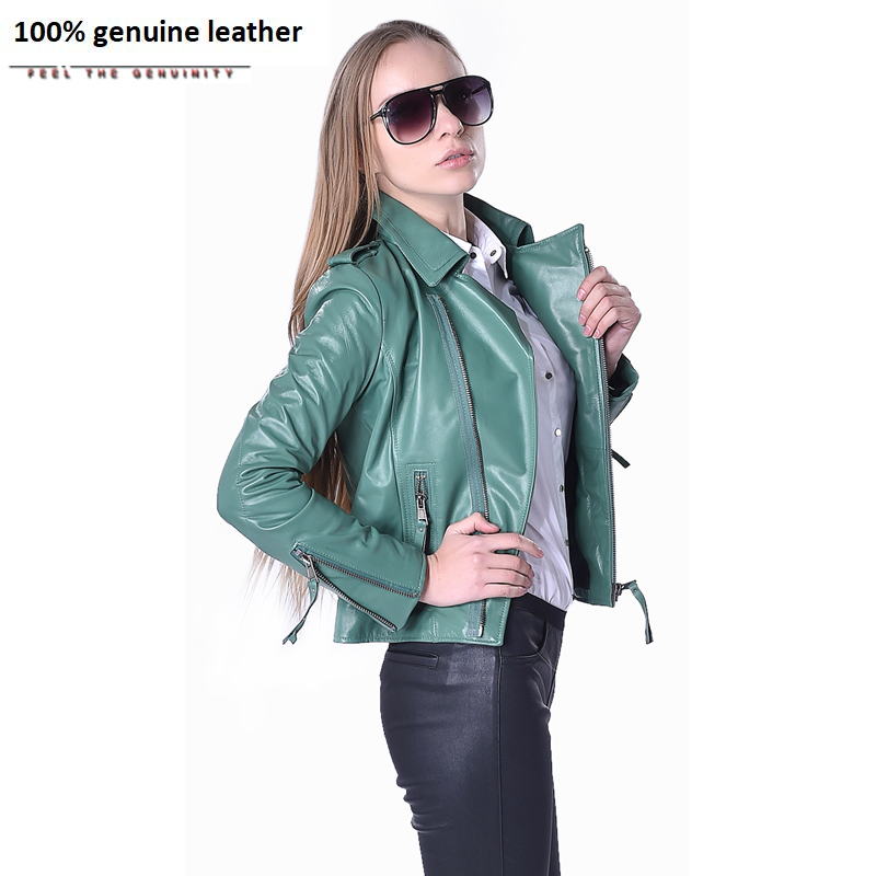 Factory Women's Leather Jacket Genuine Sheepskin 5 Colors Fashion Slim Fit Short Lady Leather Coat For Women Autumn Spring ZH073