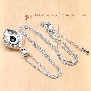 Image 5 - Strawberry 925 Silver Jewelry Black Zircon White CZ Costume Jewelry Sets For Women Earrings/Pendant/Rings/Bracelet/Necklace Set
