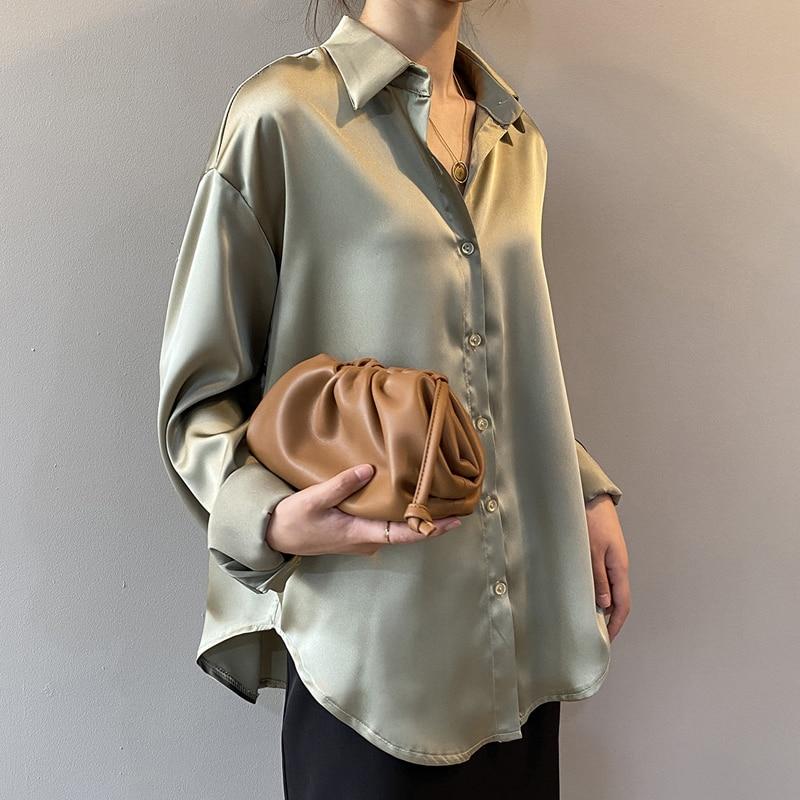 Autumn Fashion Button Up Satin Silk Shirt Vintage Blouse Women White Lady Long Sleeves Female Loose Street Shirts 11355 4
