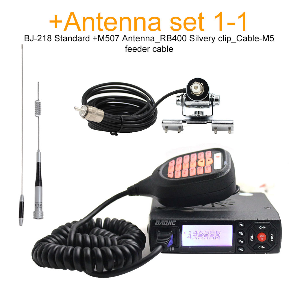 Baojie BJ-218 Mini Mobile Radio 20km 25w Dual Band VHF / UHF Walkie Talkie 136-174mhz 400-470mhz Bj218 Transceiver Station