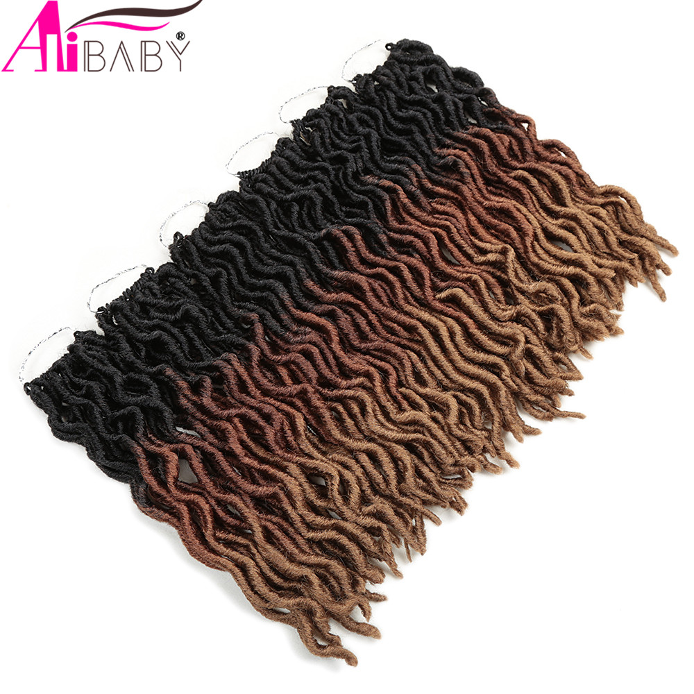 12inch Goddess Faux Locs Crochet Hair Synthetic Ombre Braiding Dreadlocks Hair Extensions 18Strands/p For Black Women Alibaby