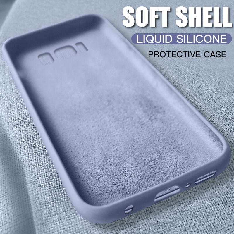 Soft Liquid Silicone Case For Samsung <font><b>Galaxy</b></font> S8 S9 S10 Plus S10E TPU Silicone Back Cover For Samsung Note <font><b>8</b></font> 9 10 J4 J6 J8 <font><b>2018</b></font> image