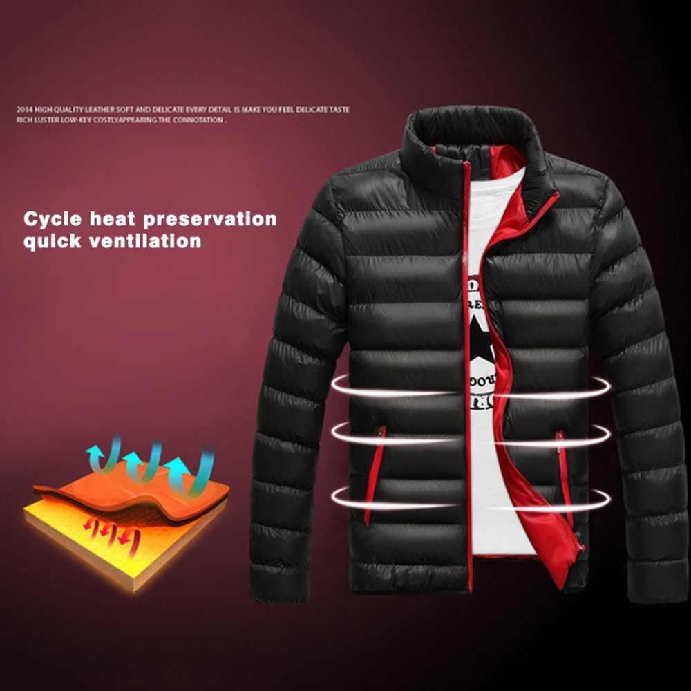 Chaqueta de algodón para hombre de invierno Parkas gruesas abrigos acolchados cálidos de corte Delgado cuello de pie rompevientos para hombre prendas de vestir M-4L de tela para hombre