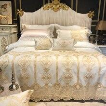 Brede Gouden Kant Dekbed/Trooster Cover Set Roze Wit Premium Egyptische Katoenen Beddengoed Set Luxe Queen King Size Bed sheet Set