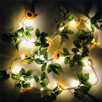 2M 20leds Simulation Sunflower String Lichter Hängenden Reben Anlage Girlande Für Garten Hochzeit Party Weihnachten Thanksgiving Dekoration