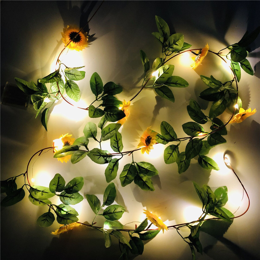 2M 20leds Simulation Sunflower String Lights Hanging Vines Plant Garland For Garden Wedding Party Xmas Thanksgiving Decoration