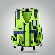 Светоотражающий Жилет Мульти-мешок строительной площадки строительный защитный жилет светофора флуоресцентная одежда куртка