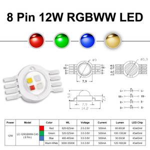 Image 5 - السوبر مشرق 4 واط 12 واط RGBW RGBWW RGBV LED مصباح COB على شكل شريحة 3 واط أحمر أخضر أزرق أبيض أرجواني كامل اللون لتقوم بها بنفسك المرحلة DJ DMX حامل مصباح إضاءة لمبة