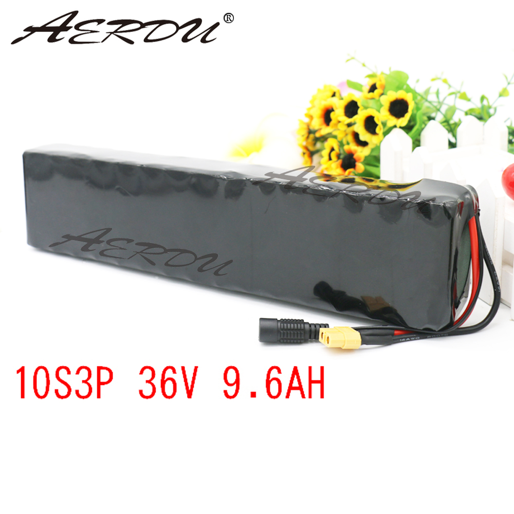 Aerdu 36v 10s3p 9.6ah, bateria de íon de lítio de 600w, para lg mh1, xiaomi mijia m365 pro ebike scooter de bicicleta com 20a bms