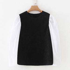 RR Corduroy Patchwork Tshirts Women Fashion Casual O Neck Tops Women Elegant Long Sleeve Tees Female Ladies JZ