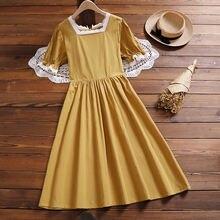 Женское Хлопковое платье в Корейском стиле элегантное винтажное