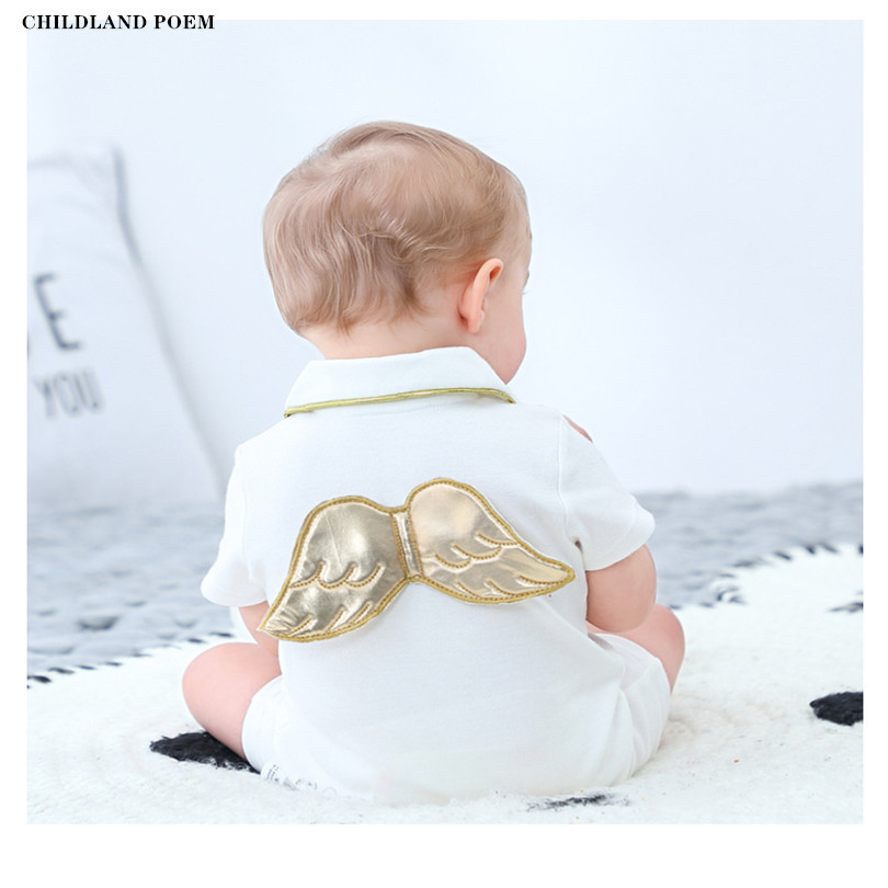 Baby Romper Newborn Baby Clothes Summer Gentleman Baby Boy Romper Jumpsuit Cotton Angel Wings Baby Costume Infant Baby Jumpsuits