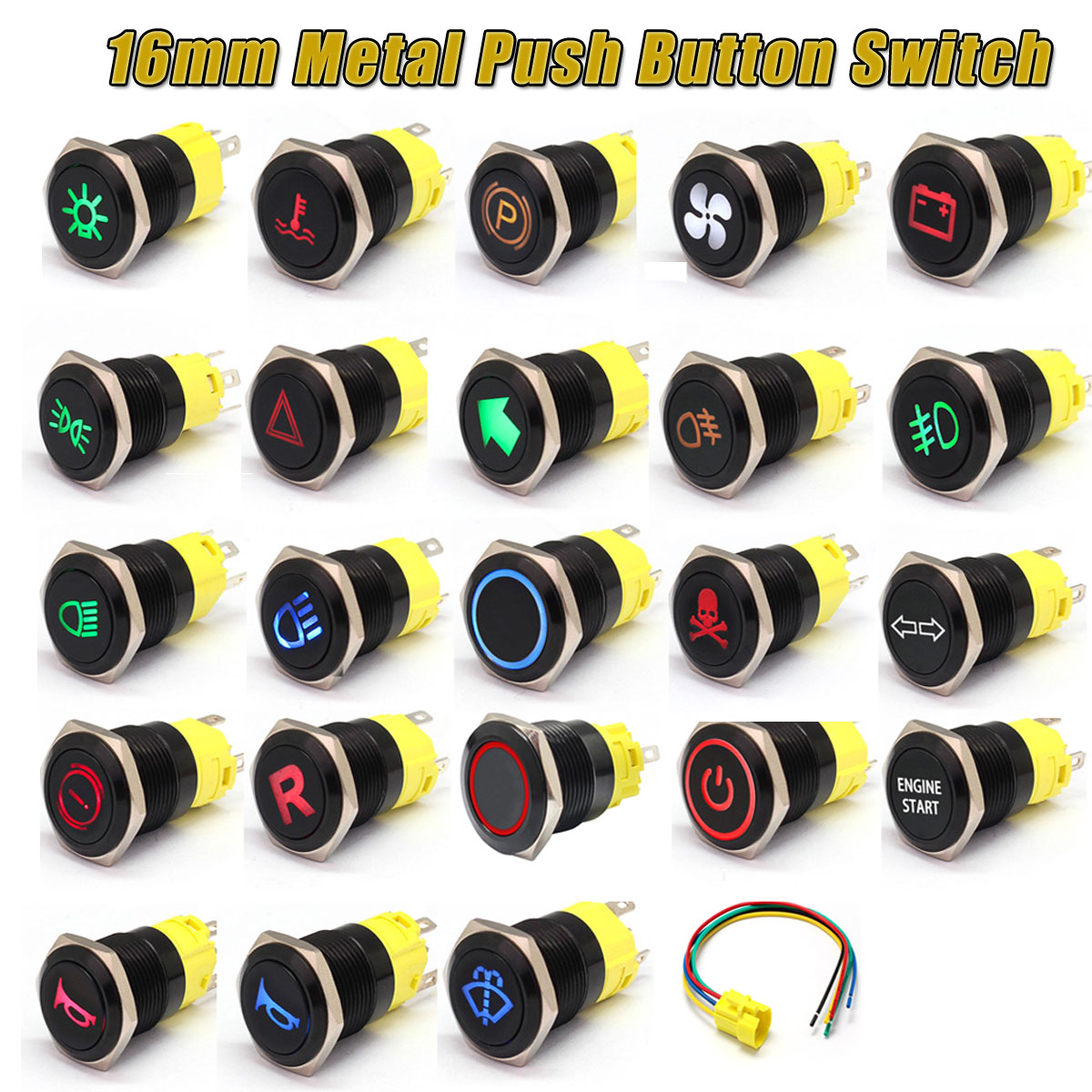 12/24V 16mm LED Indicator Warning Light Lamp Dash Panel Metal Push Button Switch Momentary Latching On Off For Car Yacht Ship