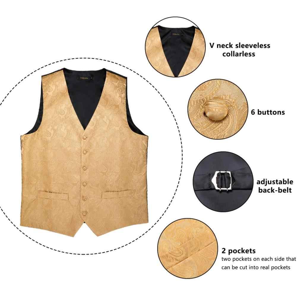 Männer Klassische Gold Anzug Weste Männer Paisley Weste Seide Fliege Taschentuch Manschettenknöpfe Set Für Party Hochzeit Westen DiBanGu