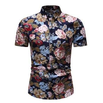 Fashion Men Hawaiian Shirt Camisa Masculina 2020 Brand Slim Fit Short Sleeve Floral Shirt Men Casual Beach Hawaii Shirts XXXL