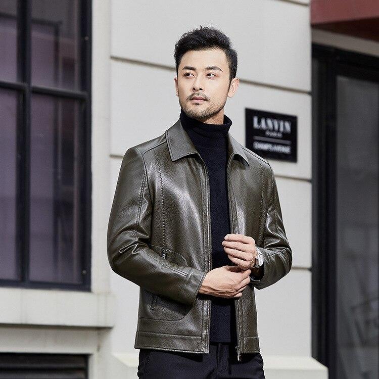 Мужская кожаная куртка с фланелевым воротником, новый стиль мужской кожаной куртки, повседневная мужская куртка на осень и зиму 2020|Куртки| | АлиЭкспресс