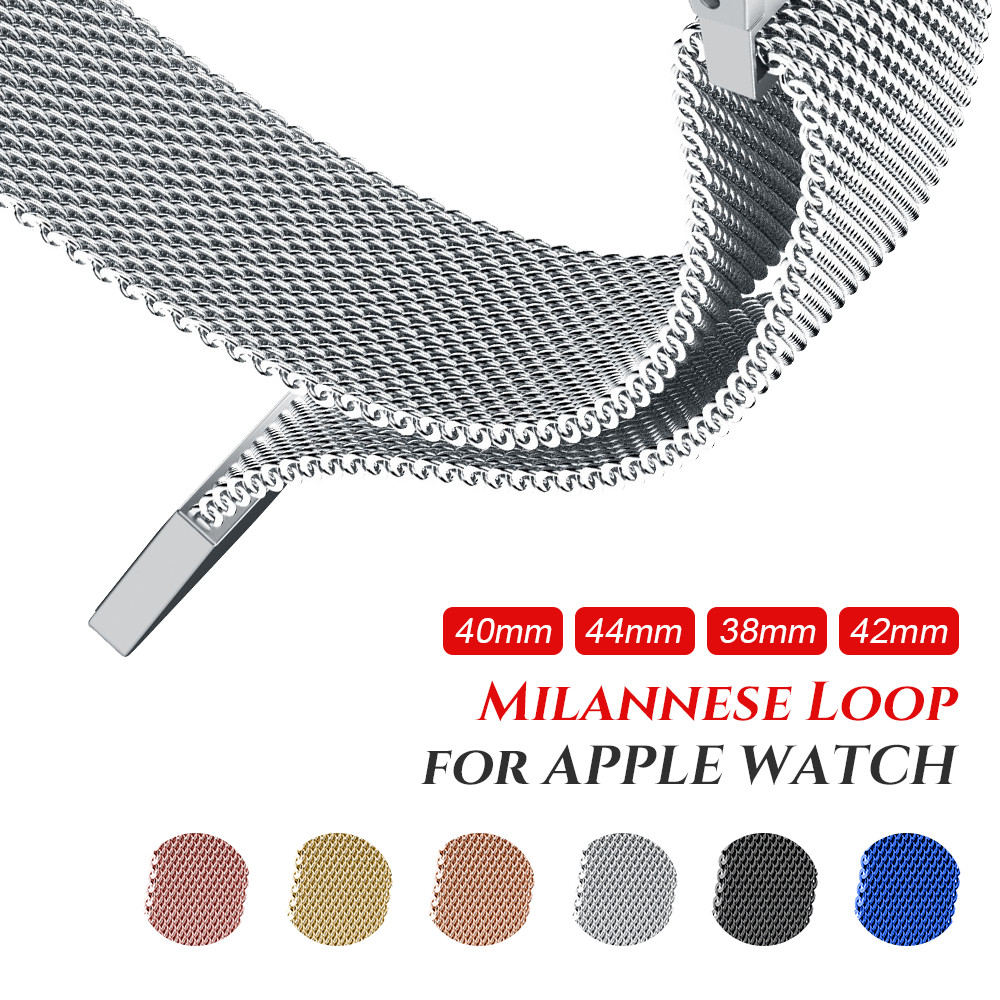 Milanese Loop Strap for Apple Watch band 38mm 42mm Stainless Steel Bracelet Magnetic for iWatch Series 1/2/3/4/5 40mm 44mm image