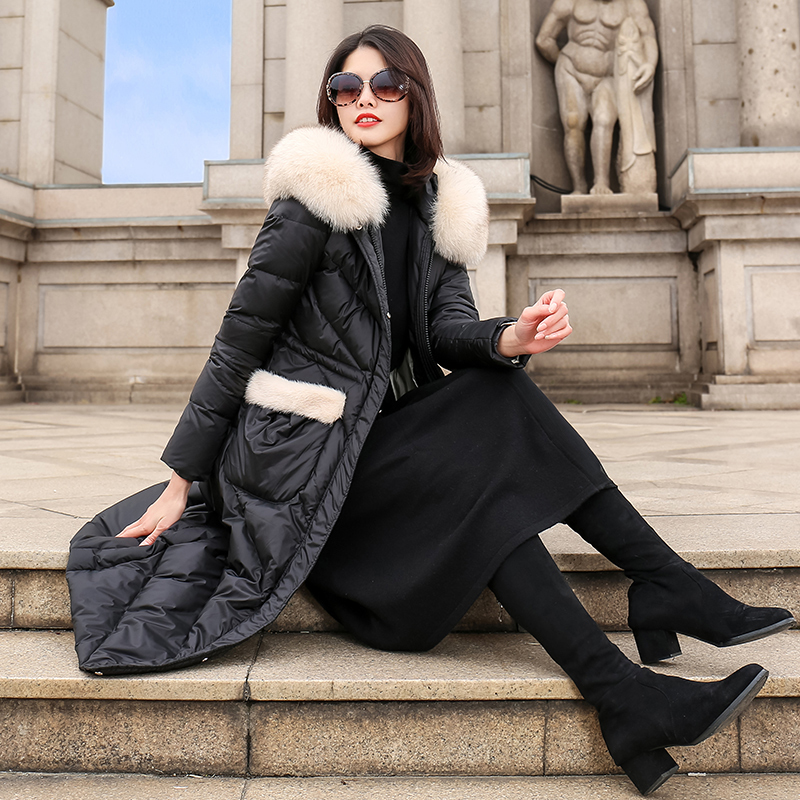 Winter Coat Women Clothes 2020 Korean Vintage Fox Fur Collar Women's Down Jacket 90% White Duck Down Coat Female Jacket ZT4227