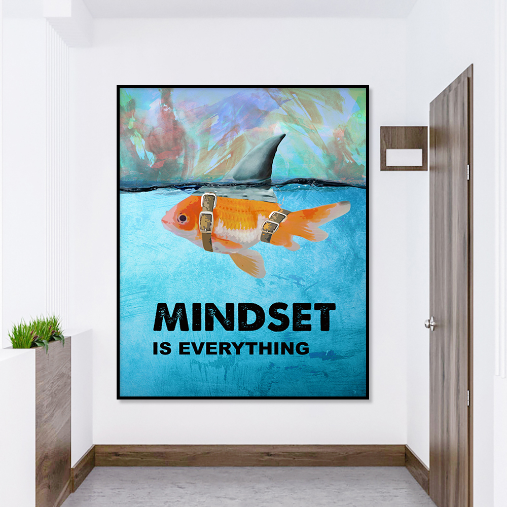 modular canvas goldfish prints pictures mindset is everything wall art painting home decor nordic posters for living room frame