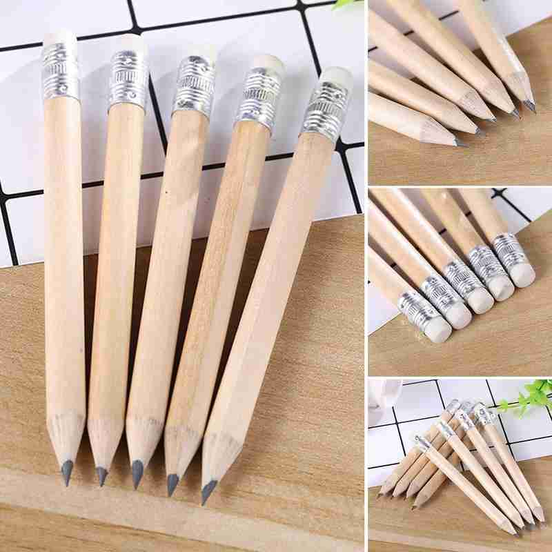 1pc Wood Pencil With Eraser Hb Short Size Pencil For Primary Students Lapis De Desenho Stationery Supplies Exam Essentials