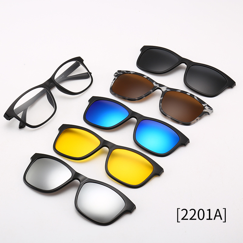 Polarized <font><b>Sunglasses</b></font> <font><b>Men</b></font> Women <font><b>5</b></font> <font><b>In</b></font> <font><b>1</b></font> <font><b>Magnetic</b></font> <font><b>Clip</b></font> <font><b>On</b></font> Glasses TR90 Optical Prescription Eyewear Frames Eyeglass M261 image