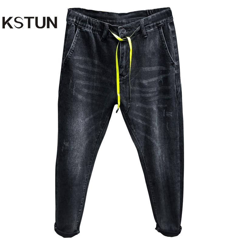 Black Jeans Men Haren Pants Spring Autumn Relaxed Tapered Jean Elastic Drastring Waist And Baggy Legs Mens Denim Jogger Jeans