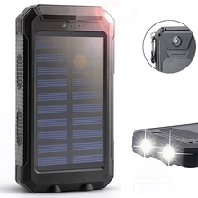 Solar Power Bank 20000mah Waterproof Powerbank Compass External Battery Portable Charger Battery Bank Power for Xiaomi Iphone XR